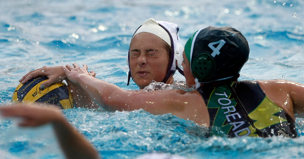 . Action during the Monterey High vs. Salinas High girls water polo match on Oct. 22, 2013 at Santa Catalina School in Monterey.  (Vern Fisher/Monterey County Herald)