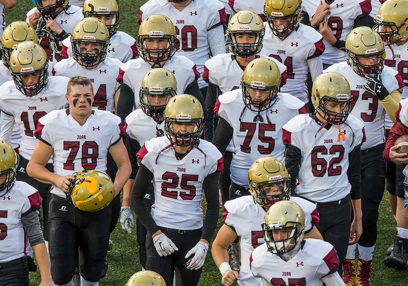 Juab High School battles the Morgan Trojans during the 3-A semifinal game on Friday November 3, 2017, at Stewart Stadium in Ogden.
