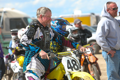 Bridgeport's Michael Harden and his son Markus Harden wait for the start in the younger Hardens ride in class 85cc at Alliance Motocross on Sunday.