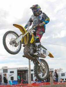 Bridgeport's Michael Harden Sky's over a jump in the Vet class at Alliance Motocross on Sunday.