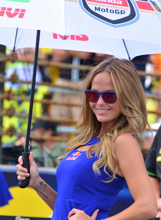 Coy MotoGP Umbrella and Grid Girl Indy RedBull Grand Prix