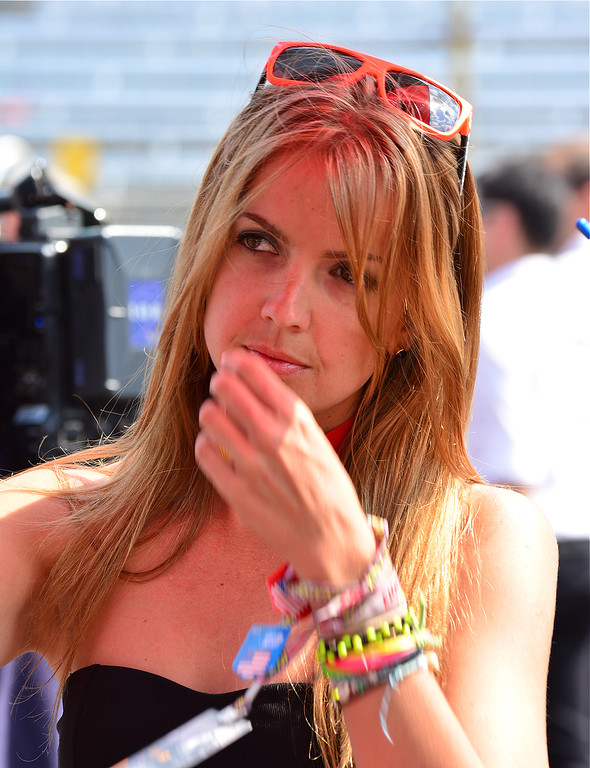 MotoGP Umbrella Girl Deep in Thought RedBull GP Indy