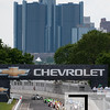 June 3, 2012; Detroit, MI, USA; IndyCar Series driver Scott Dixon (9) leads the pack at the beginning of the Chevrolet Detroit Grand Prix at Belle Isle. Mandatory Credit: Tim Fuller-US PRESSWIRE