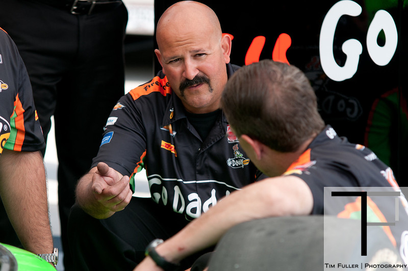 June 3, 2012; Detroit, MI, USA; Crew members of IndyCar Series driver James Hinchcliffe (not pictured) work on the car before the Chevrolet Detroit Grand Prix at Belle Isle. Mandatory Credit: Tim Fuller-US PRESSWIRE