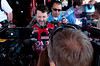 June 15, 2012; Brooklyn, MI, USA; NASCAR Sprint Cup Series driver Tony Stewart (14) talks to the media during practice for the Quicken Loans 400 at Michigan International Speedway Mandatory Credit: Tim Fuller-US PRESSWIRE