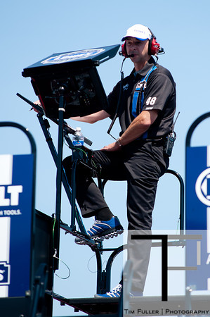 June 15, 2012; Brooklyn, MI, USA; Chad Knaus crew chief of NASCAR Sprint Cup Series driver Jimmie Johnson (not pictured) during practice for the Quicken Loans 400 at Michigan International Speedway Mandatory Credit: Tim Fuller-US PRESSWIRE