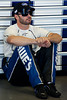 June 15, 2012; Brooklyn, MI, USA; NASCAR Sprint Cup Series driver Jimmie Johnson (48) sits in the garage during practice for the Quicken Loans 400 at Michigan International Speedway Mandatory Credit: Tim Fuller-US PRESSWIRE