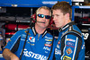 June 15, 2012; Brooklyn, MI, USA; NASCAR Sprint Cup Series driver Carl Edwards (right) talks with his crew chief Bob Osborne (left) during practice for the Quicken Loans 400 at Michigan International Speedway Mandatory Credit: Tim Fuller-US PRESSWIRE
