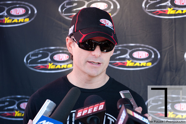 June 15, 2012; Brooklyn, MI, USA; NASCAR Sprint Cup Series driver Jeff Gordon (24) speaks with the media during practice for the Quicken Loans 400 at Michigan International Speedway Mandatory Credit: Tim Fuller-US PRESSWIRE