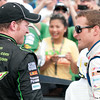 June 17, 2012; Brooklyn, MI, USA; NASCAR Sprint Cup Series driver Dale Earnhardt Jr. (left) is congratulated by driver Kasey Kahne (right) after the Quicken Loans 400 at Michigan International Speedway. Mandatory Credit: Tim Fuller-US PRESSWIRE