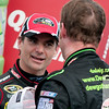 June 17, 2012; Brooklyn, MI, USA; NASCAR Sprint Cup Series driver Dale Earnhardt Jr. (right) is congratulated by driver Jeff Gordon (24) after the Quicken Loans 400 at Michigan International Speedway. Mandatory Credit: Tim Fuller-US PRESSWIRE