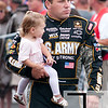 June 17, 2012; Brooklyn, MI, USA; NASCAR Sprint Cup Series driver Ryan Newman (39) holds his daughter Brooklyn Newman before the Quicken Loans 400 at Michigan International Speedway. Mandatory Credit: Tim Fuller-US PRESSWIRE