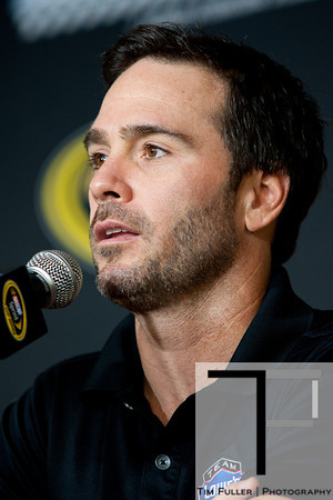 Aug 17, 2012; Brooklyn, MI, USA; NASCAR Sprint Cup Series driver Jimmie Johnson (48) during a press conference before the practice for the Pure Michigan 400 at Michigan International Speedway. Mandatory Credit: Tim Fuller-US PRESSWIRE