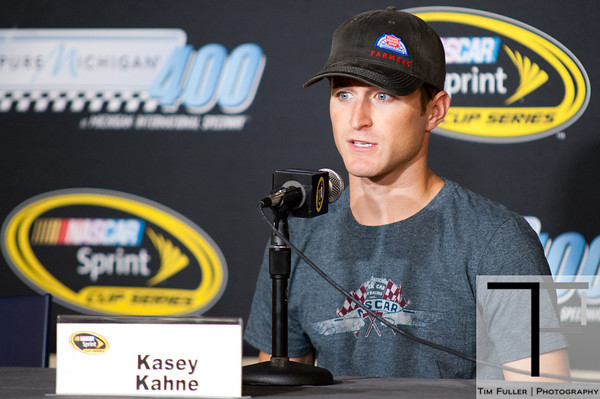 Aug 17, 2012; Brooklyn, MI, USA; NASCAR Sprint Cup Series driver Kasey Kahne (5) during an interview before practice for the Pure Michigan 400 at Michigan International Speedway. Mandatory Credit: Tim Fuller-US PRESSWIRE