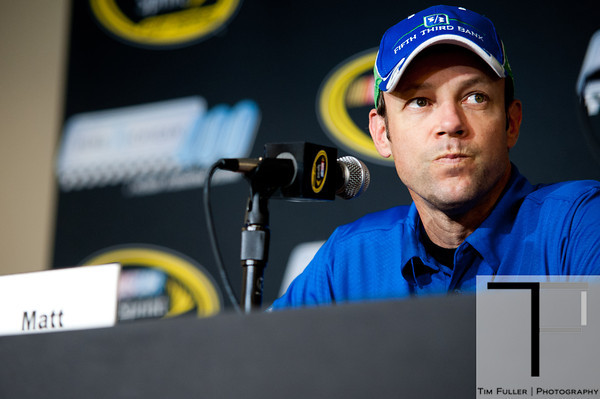 Aug 17, 2012; Brooklyn, MI, USA; NASCAR Sprint Cup Series driver Matt Kenseth (17) during an interview before practice for the Pure Michigan 400 at Michigan International Speedway. Mandatory Credit: Tim Fuller-US PRESSWIRE
