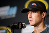 Aug 17, 2012; Brooklyn, MI, USA; NASCAR Sprint Cup Series driver Kasey Kahne (5) at a press conference before the practice for the Pure Michigan 400 at Michigan International Speedway. Mandatory Credit: Tim Fuller-US PRESSWIRE