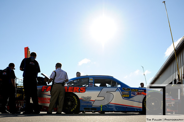 Aug 17, 2012; Brooklyn, MI, USA; The car of NASCAR Sprint Cup Series driver Kasey Kahne (5) is reviewed by officials during practice for the Pure Michigan 400 at Michigan International Speedway. Mandatory Credit: Tim Fuller-US PRESSWIRE