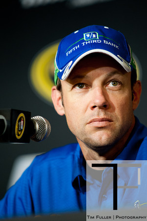 Aug 17, 2012; Brooklyn, MI, USA; NASCAR Sprint Cup Series driver Matt Kenseth (17) during a press conference before the practice for the Pure Michigan 400 at Michigan International Speedway. Mandatory Credit: Tim Fuller-US PRESSWIRE