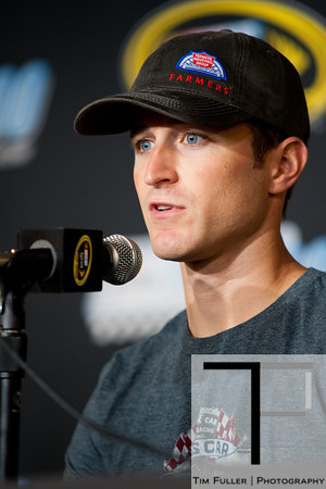 Aug 17, 2012; Brooklyn, MI, USA; NASCAR Sprint Cup Series driver Kasey Kahne (5) during a press conference before the practice for the Pure Michigan 400 at Michigan International Speedway. Mandatory Credit: Tim Fuller-US PRESSWIRE
