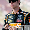 Aug 17, 2012; Brooklyn, MI, USA; NASCAR Sprint Cup Series driver Joey Logano (20) during qualifying for the Pure Michigan 400 at Michigan International Speedway. Mandatory Credit: Tim Fuller-US PRESSWIRE