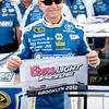 Aug 17, 2012; Brooklyn, MI, USA; NASCAR Sprint Cup Series driver Mark Martin (55) after the qualifying for the Pure Michigan 400 at Michigan International Speedway. Mandatory Credit: Tim Fuller-US PRESSWIRE