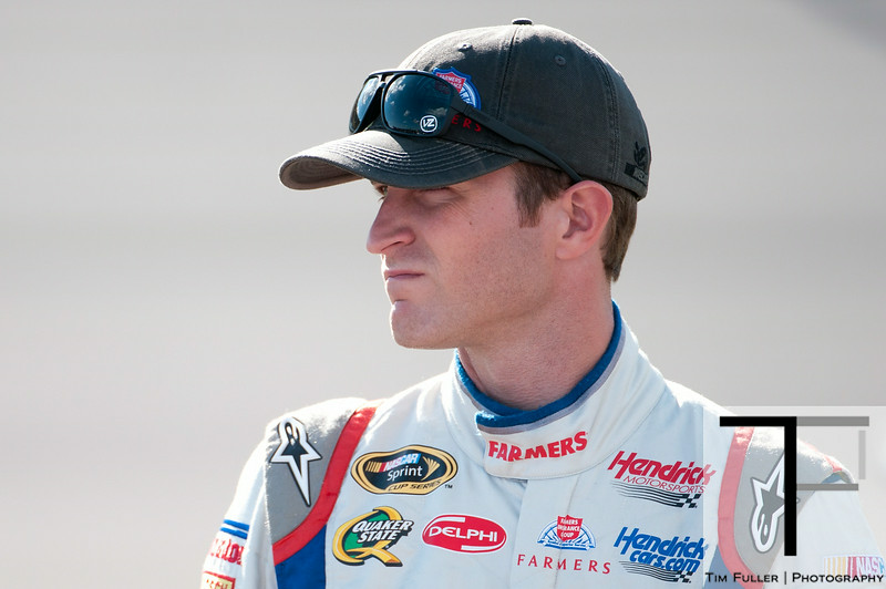 Aug 17, 2012; Brooklyn, MI, USA; NASCAR Sprint Cup Series driver Kasey Kahne (5) during qualifying for the Pure Michigan 400 at Michigan International Speedway. Mandatory Credit: Tim Fuller-US PRESSWIRE