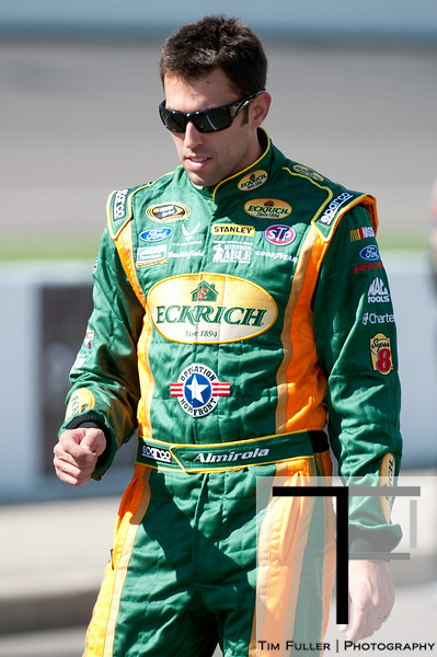 Aug 17, 2012; Brooklyn, MI, USA; NASCAR Sprint Cup Series driver Aric Almirola (43) during qualifying for the Pure Michigan 400 at Michigan International Speedway. Mandatory Credit: Tim Fuller-US PRESSWIRE