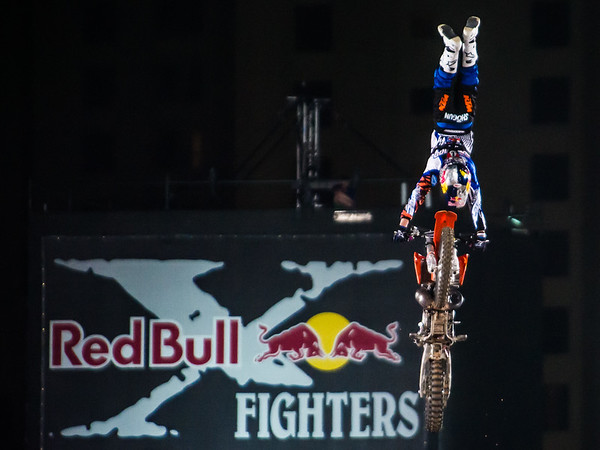 Josh Sheehan with a Tsunami at the Red Bull X Fighter International Freestyle Motorcross 2012, held at 'The Walk', Jumeirah Beach Residences, Dubai, on 13th April, 2012.  Photo by: Stephen Hindley/SPORTDXB ©