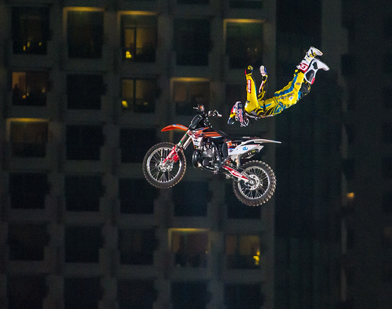 Dany Torres with a Rock Solid Red Bull X Fighter International Freestyle Motorcross 2012, held at 'The Walk', Jumeirah Beach Residences, Dubai, on 13th April, 2012.  Photo by: Stephen Hindley/SPORTDXB ©