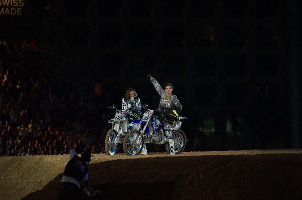 Andre Villa concedes defeat to Rob Adelberg during the first round of the Red Bull X Fighter International Freestyle Motorcross 2012, held at 'The Walk', Jumeirah Beach Residences, Dubai, on 13th April, 2012.  Photo by: Stephen Hindley/SPORTDXB ©