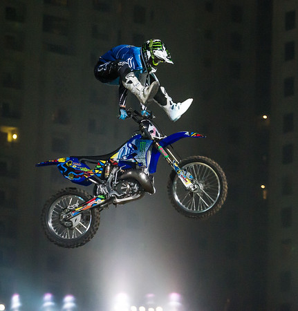 Edgar Torronteras pulls off Heelclicker during Round II of the Red Bull X Fighter International Freestyle Motorcross 2012, held at 'The Walk', Jumeirah Beach Residences, Dubai, on 13th April, 2012.  Photo by: Stephen Hindley/SPORTDXB ©