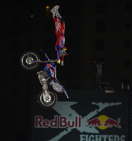 Javier Villegas from Chile performs a Ruler during the Red Bull X Fighter International Freestyle Motorcross 2012, held at 'The Walk', Jumeirah Beach Residences, Dubai, on 13th April, 2012.  Photo by: Stephen Hindley/SPORTDXB ©