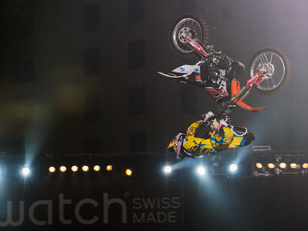 Dany Torres pulls off a Cordova Flip durig the Red Bull X Fighter International Freestyle Motorcross 2012, held at 'The Walk', Jumeirah Beach Residences, Dubai, on 13th April, 2012.  Photo by: Stephen Hindley/SPORTDXB ©