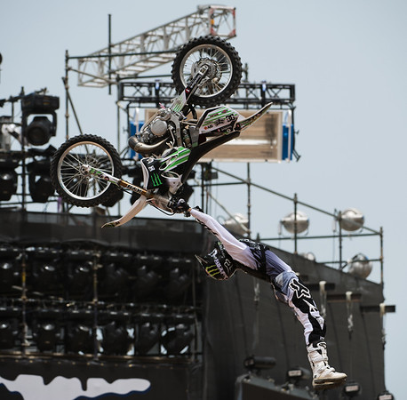 Red Bull X Fighter International Freestyle Motorcross 2012, held at 'The Walk', Jumeirah Beach Residences, Dubai, on 13th April, 2012.  Photo by: Stephen Hindley/SPORTDXB ©