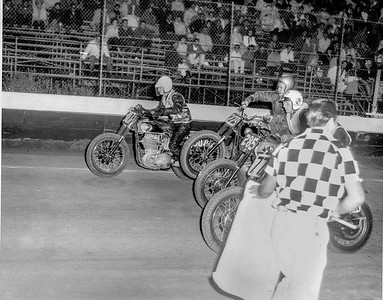 Start of race.  I'm on the outside, and at least for the moment, am winning the race.  El Cajon Speedway, El Cajon, California.  1963.