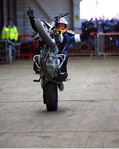 World Stunt Champion, Chris Pfeiffer, at the  Irish Motorbike and Scooter Show at the RDS today