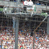 Peyton Manning at the top of the flagstand ladder... :)