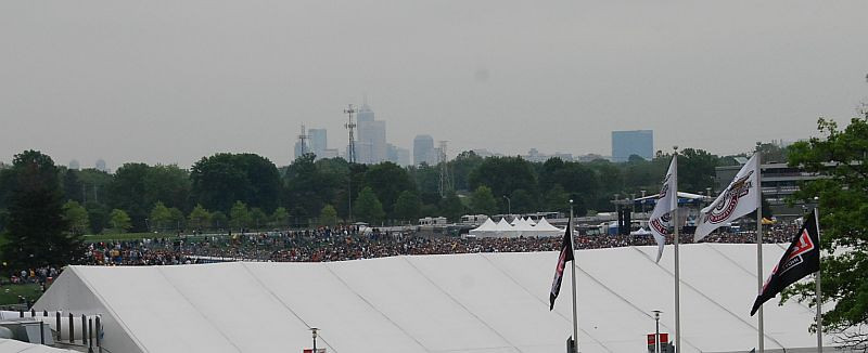 Massive crowd for the Carb Day concert (stage is behind the flags on the right). Staind and Papa Roach performed.