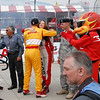 Ryan Hunter-Reay hugs Cameron, the IZOD girl