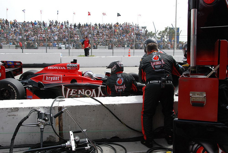 Marco Andretti comes in for a pit stop
