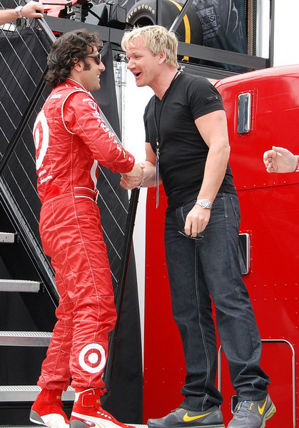 Defending INDYCAR and Indy 500 champion Dario Franchitti with Gordon Ramsey