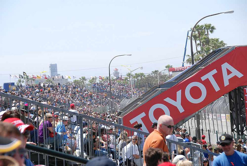 The front stretch crowd enjoying a perfect day at the races.