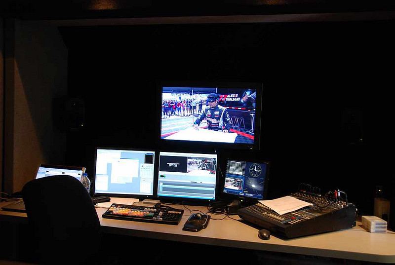 """A work station in the """"B"""" unit, used by Versus to create graphics for the TV broadcasts."""