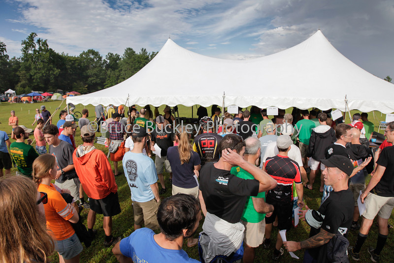 More than 600 racers registered for the 15th annual Shenandoah Mountain 100. Here, racers line up on the afternoon before the race to pick up their race packets in the Stokesville campground--location of the race start.