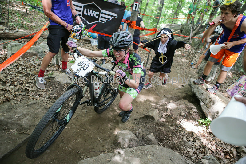 Whether running or riding, racers had to escape the wrath of the rosary in the Heckle Pit.