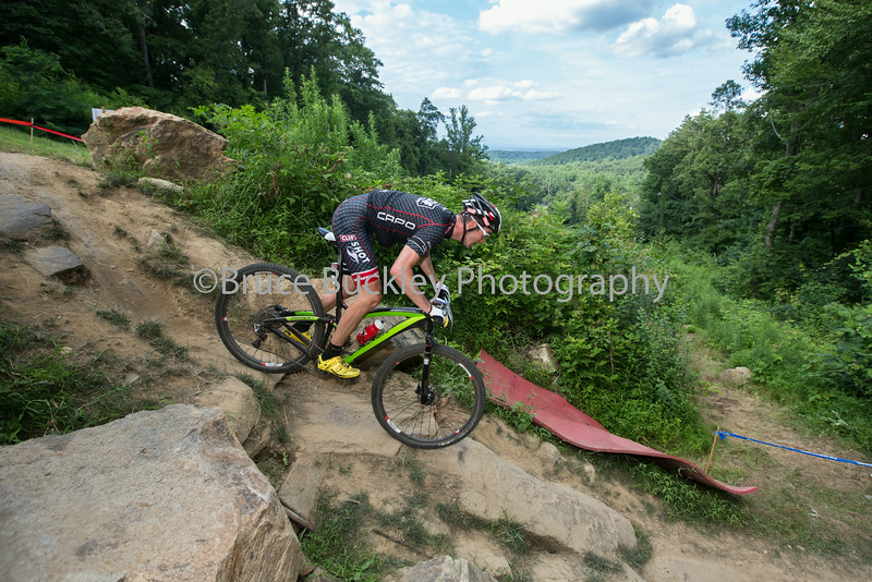 Bear Creek Resort offered some rocky East Coast terrain for MTB Nationals. Pictured, Troy Wells drops in.