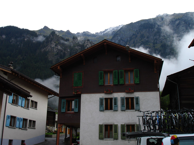 Looking up towards La Vallee Express from the hotel in Loutier