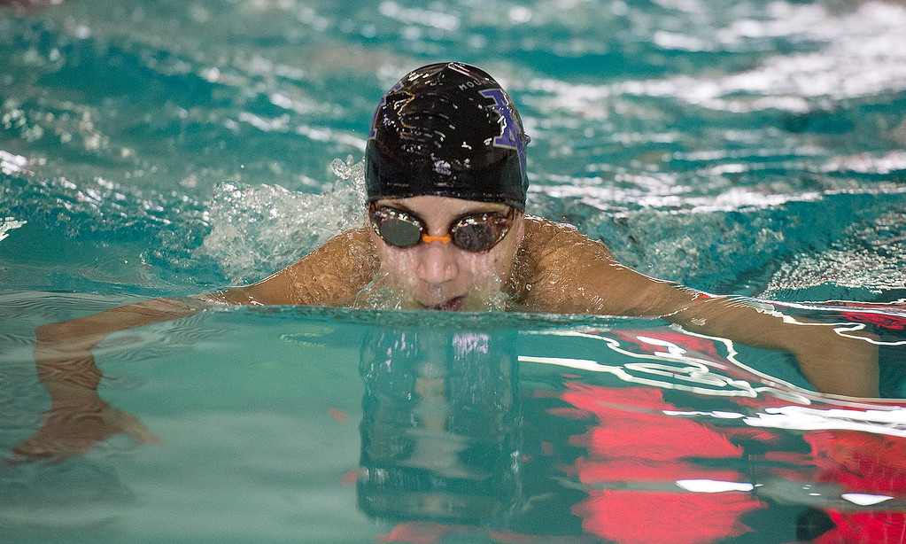 . Mountain View\'s Max Bridges swims the 200-yard individual medley Saturday morning April 30, 2016 during the Mountain View Invite meet in Loveland. (Photo by Michael Brian/Loveland Reporter-Herald)
