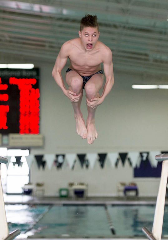 . Thompson Valley\'s Hunter Williams somersaults during the diving event Saturday morning April 30, 2016 during the Mountain View Invite meet in Loveland. (Photo by Michael Brian/Loveland Reporter-Herald)