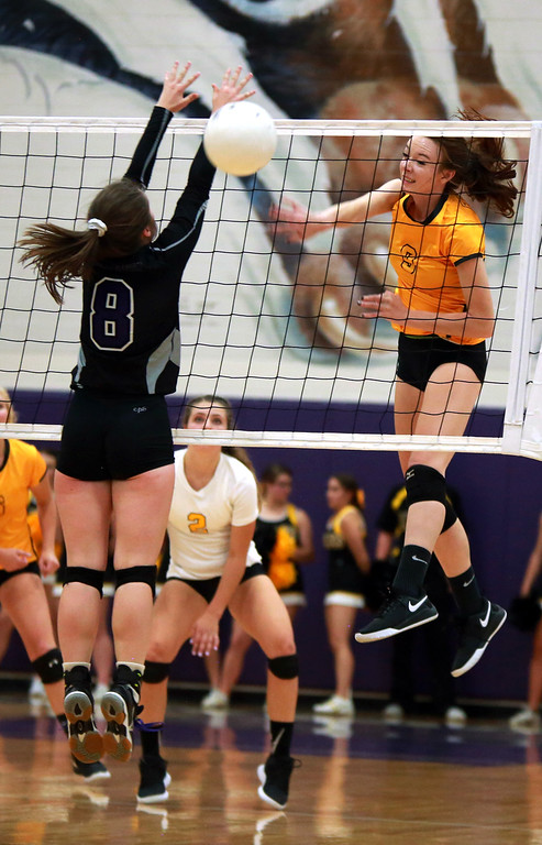 . Thompson Valley�s Elease Marolf (3) hits the ball to Mountain View�s Carson Boman (8) at Tuesday night�s game at Mountain View High School on Sept. 18, 2018 in Loveland. Photo by Taelyn Livingston/ Loveland Reporter-Herald